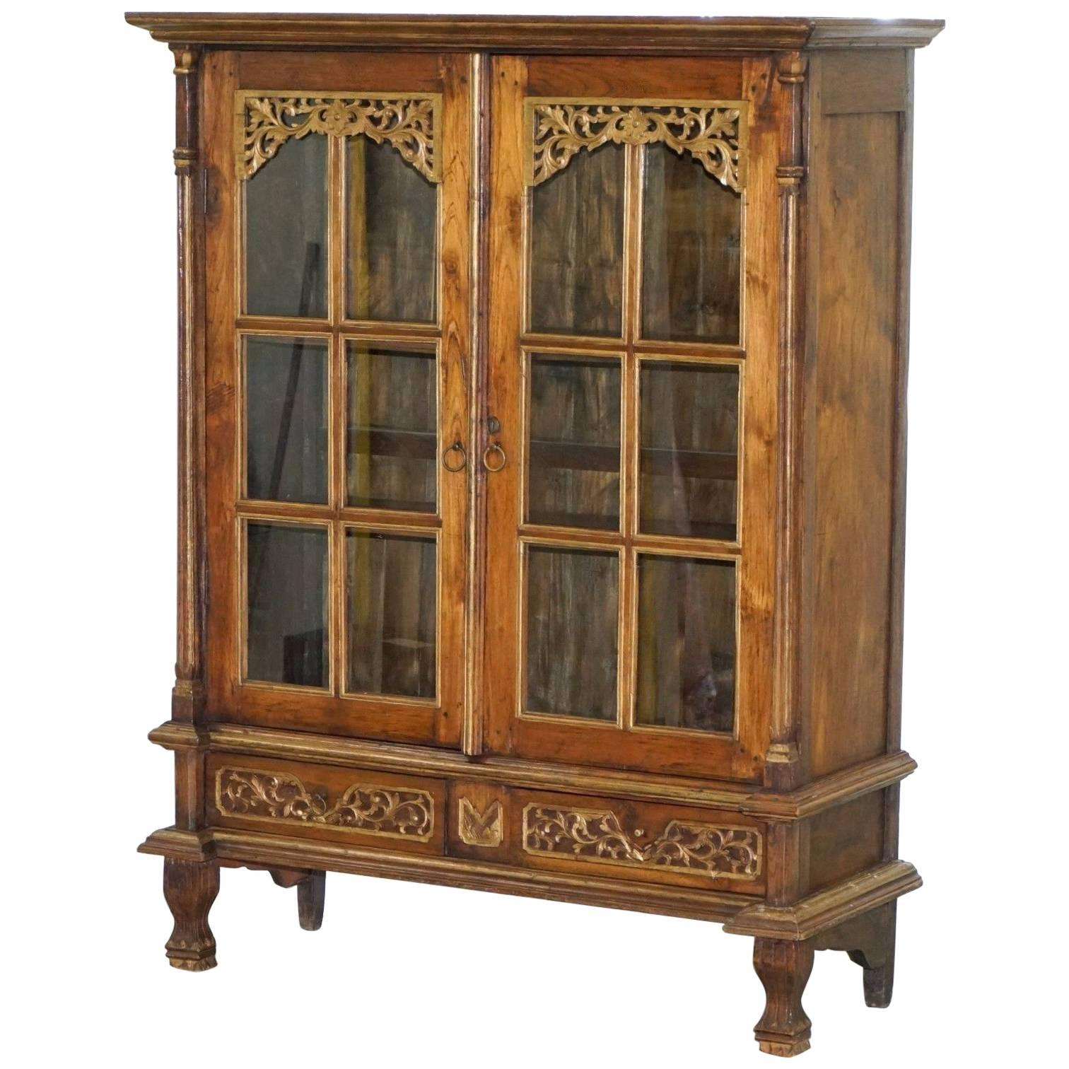 An 18th C English Chippendale Breakfront Bookcase China Cabinet at