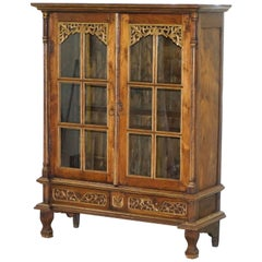 Stunning Hand-Carved Antique French Louis 18th-19th Century Bookcase Cabinet