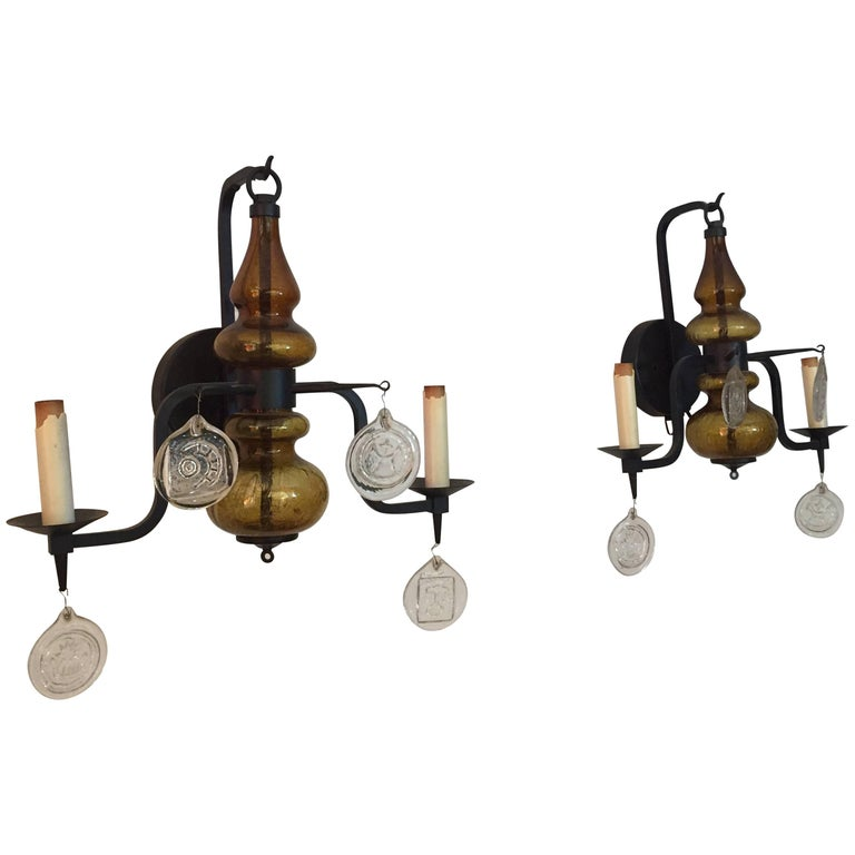 Pair of Amber Glass and Iron Erik Hoglund Sconces