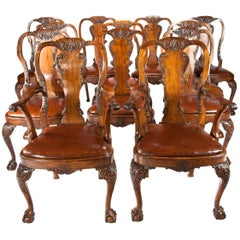 Set of 12 Antique Walnut Leather Upholstered Dining Chairs