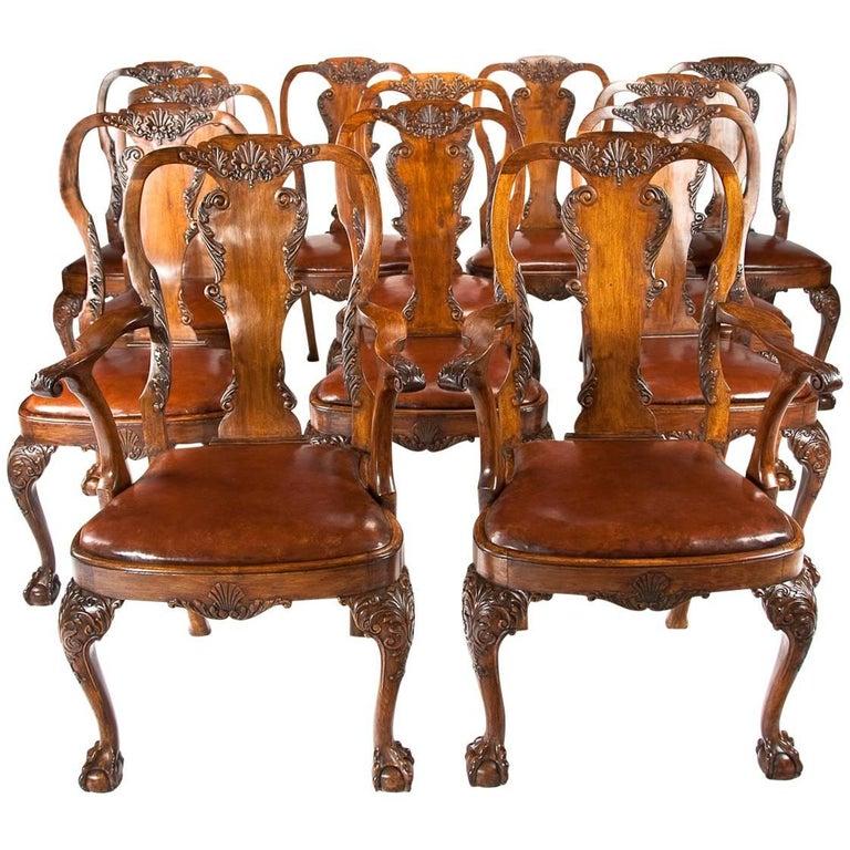 Set of 12 Antique Walnut Leather Upholstered Dining Chairs For Sale - Set Of 12 Antique Walnut Leather Upholstered Dining Chairs At 1stdibs