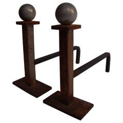 1940s Pair of Andirons by Jacques Adnet