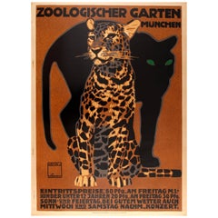 Original Antique Poster by Hohlwein for Munich Zoo - Zoologischer Garten Munchen