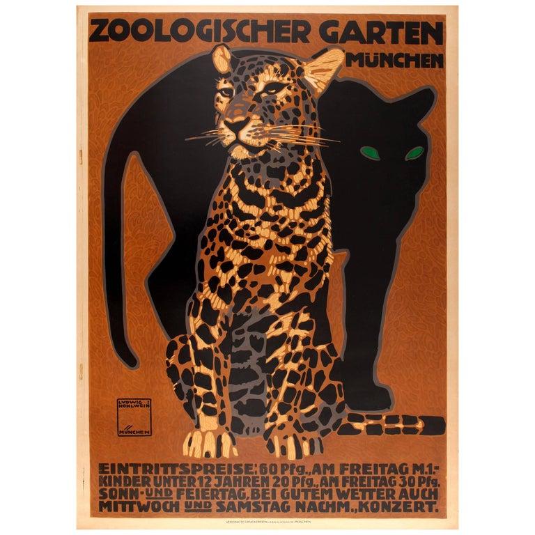 Original Antique Poster By Hohlwein For Munich Zoo Zoologischer
