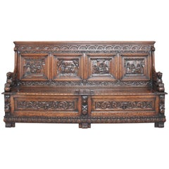Large 19th Century Carved Oak Box Settle