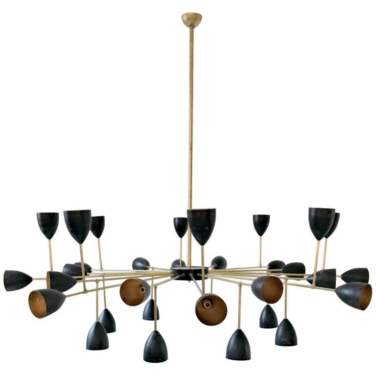 Branching Chandelier, Ivory or Black Shades, Gold Inside in the Stilnovo Style