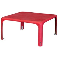 1964, Vico Magistretti for Artemide, Red Demetrio 45 Stackable Table
