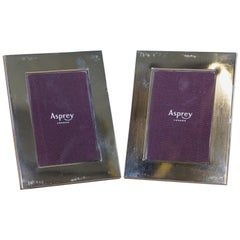 Pair of Asprey London Crosshatch Sterling Silver Picture Frames
