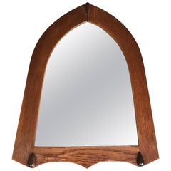 Early 1900s Arts & Crafts Stylized Triangle Wall Mirror in Oak & Macassar Frame