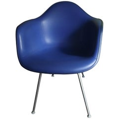 Eames LAX Lounge Armchair by Herman Miller Upholstered in Blue Naugahyde