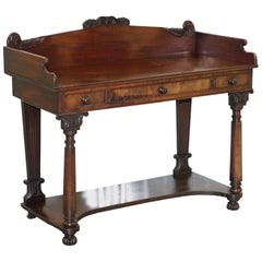 Antique Victorian Flamed Mahogany Console Writing Desk Table Wash Stand