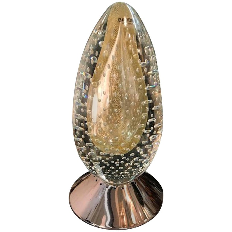 Barbini Murano Egg Sculpture Table Lamp