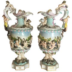 Pair of Late 19th Century Meissen Porcelain Ewers with Maritime Scene