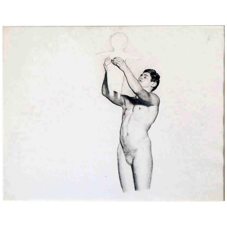 """Male Nude Holding Child Aloft,"" Large Art Deco Drawing by Master Muralist"