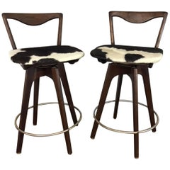 Bar Stool Pair in Walnut and Cowhide