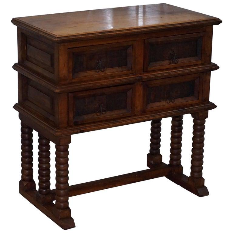 Solid Oak Bobbin Turned Triple Leg Sideboard Chest of Drawers Great Piece & Size