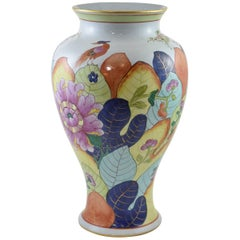 Hand-Painted Italian Vase in the Tobacco Leaf Pattern Attributed to Mottahedah