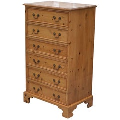 Vintage Farmhouse Country Large Deep Tallboy Chest of Drawers Swan Neck Handles