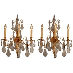 Pair of 1930s Crystal and Bronze Wall Sconces