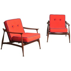 Rare Pair of Armchairs Attributed to Ico Parisi for Reguitti