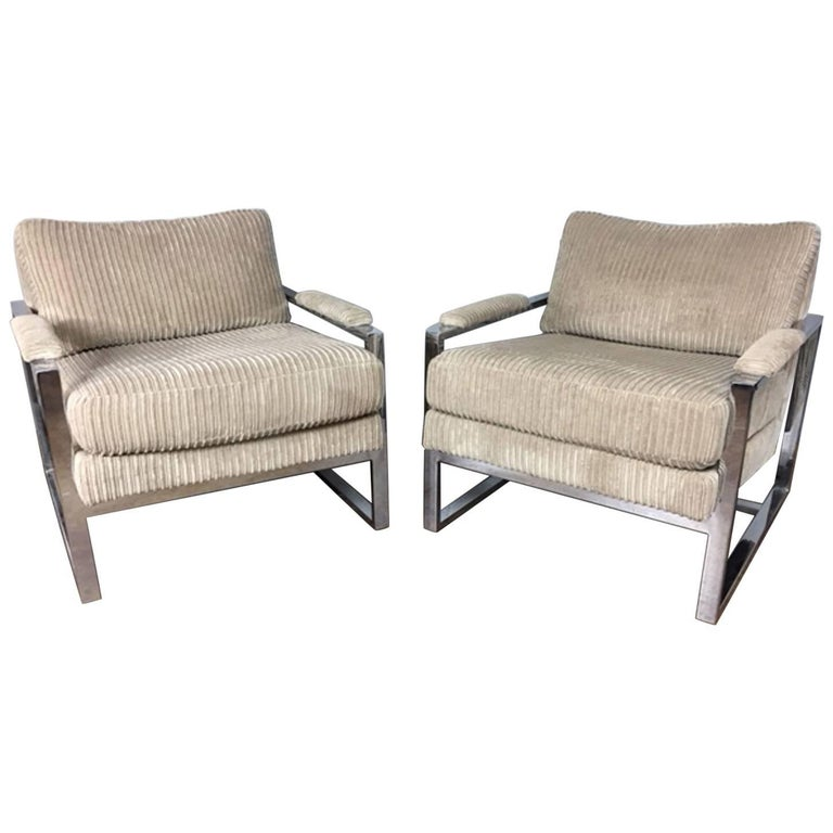 Milo Baughman Lounge Chair, Pair