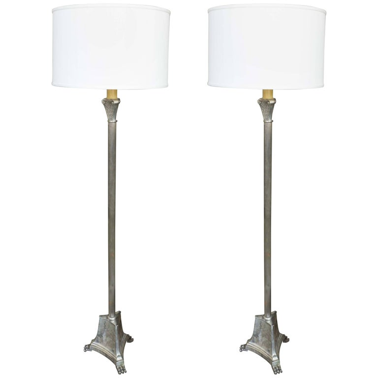 French floor lamp empire revival ormolu swan neck standard lamp at pair of french silvered empire style floor lamps aloadofball Choice Image