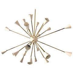 Oval Brass Sputnik Chandelier, 24 Lights, Ivory Shades in the Stilnovo Style