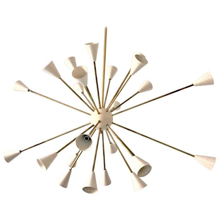 Oval Brass Sputnik Chandelier, 24 Lights, Ivory Shades in the Stilnovo Style