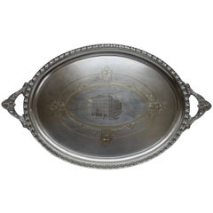 Large Commemorative Aesthetic Movement Silver Plate Tray, American 19th Century
