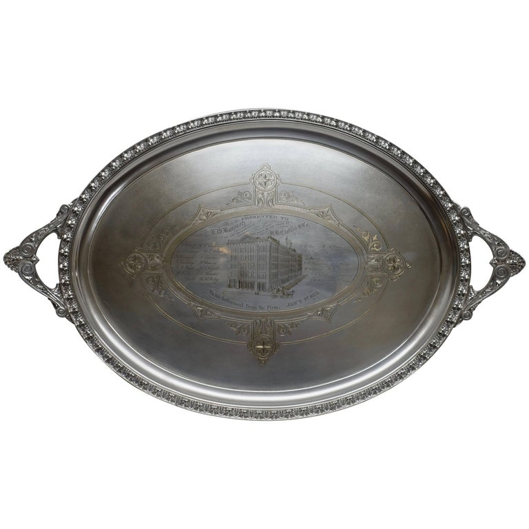 Large Commemorative Aesthetic Movement Silver Plate Tray, American 19th Century For Sale