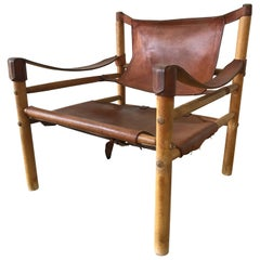 """Early Distressed Saddle Leather """"Sirocco"""" Safari Chair by Arne Norell"""