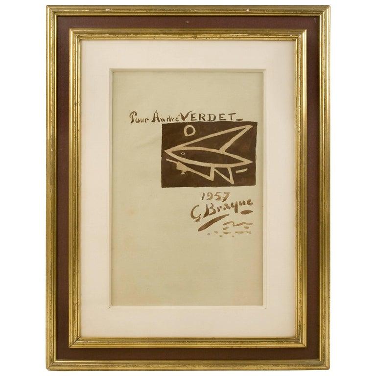 "Watercolor by Georges Braque ""Composition au Poisson"" 1957, France"
