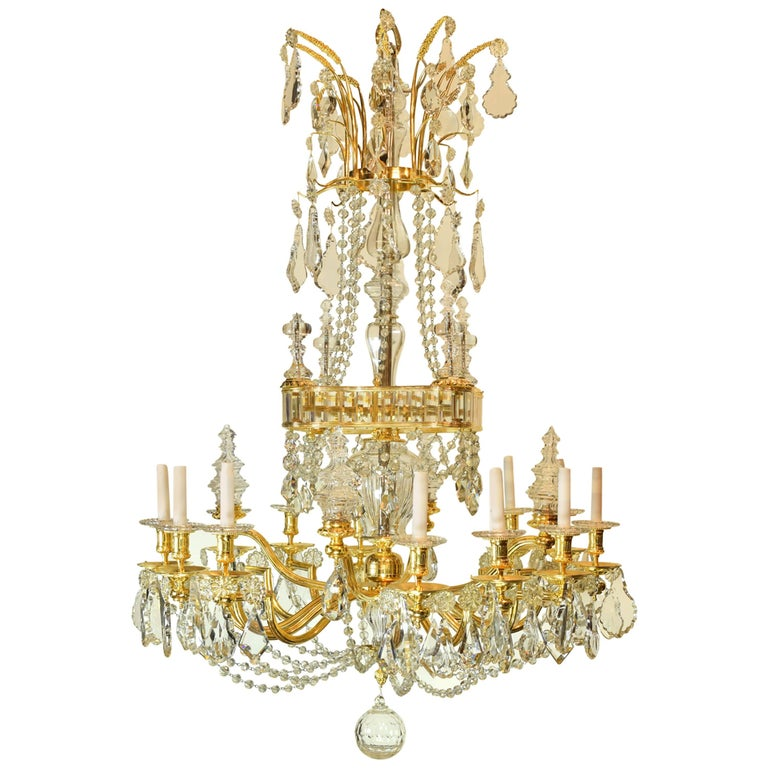 Gilt Bronze and Baccarat Glass Chandelier, France, 19th Century