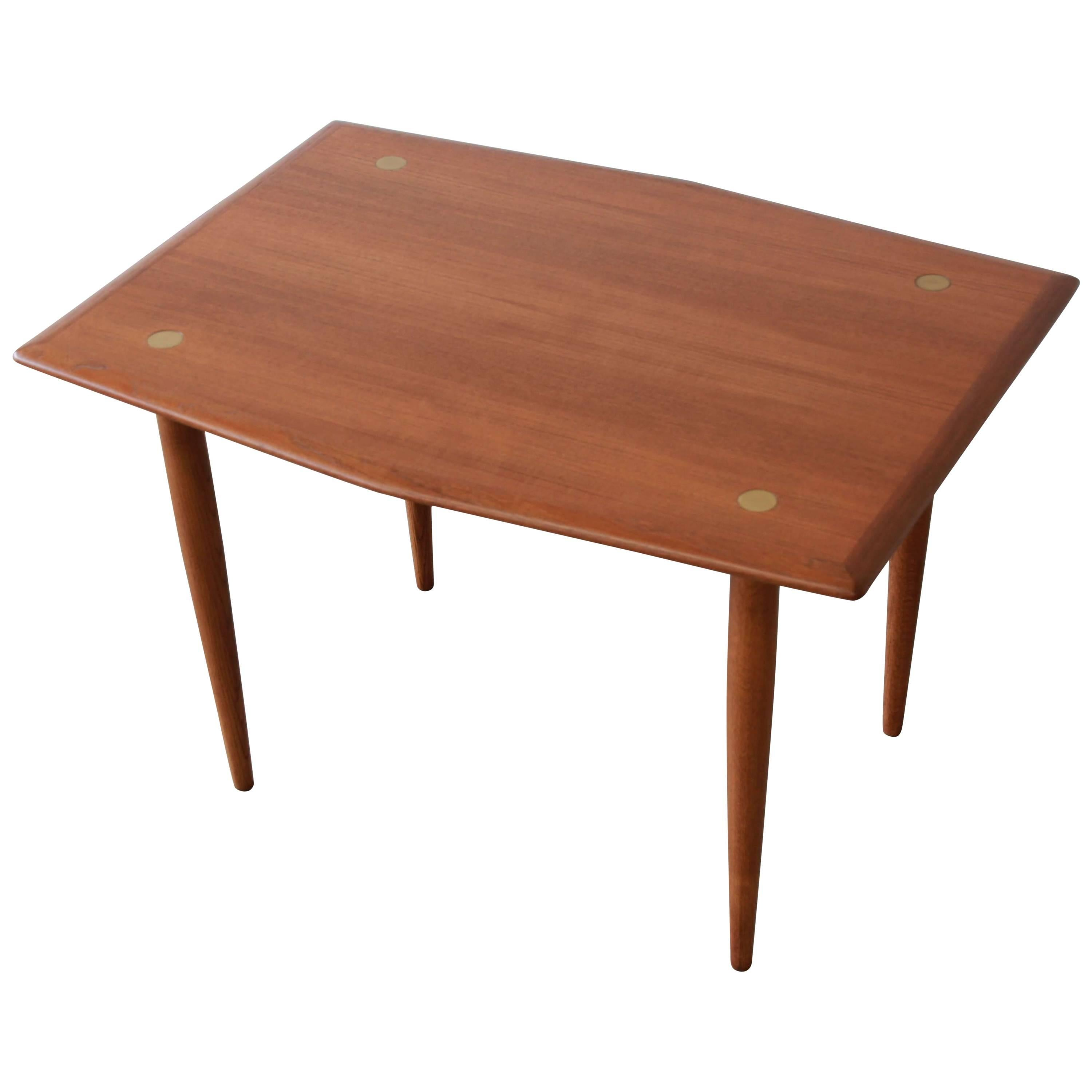 Swedish Modern Teak and Brass Side Table by Dux