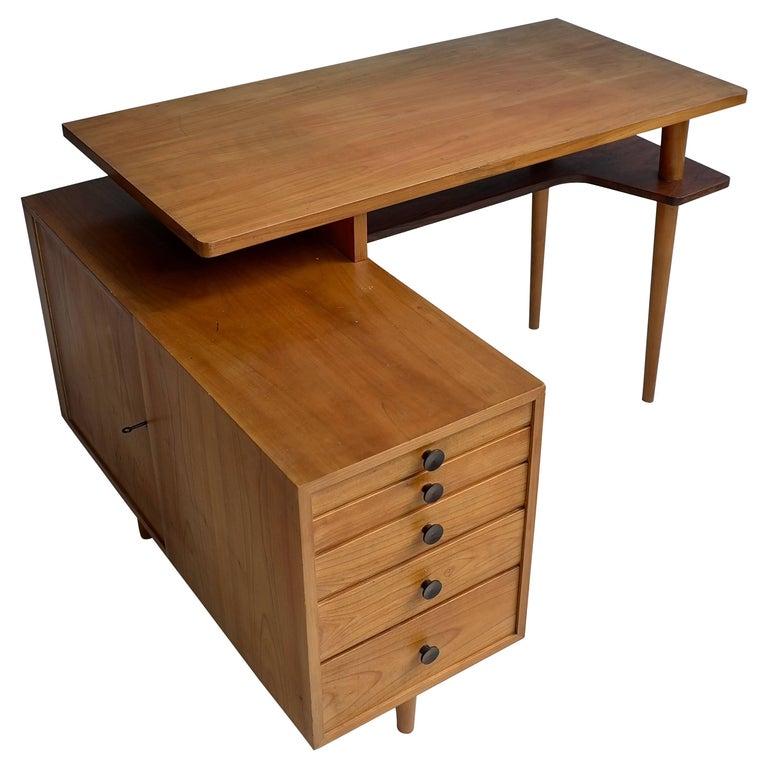 Elegant L Shaped 1950s Desk with Fine Rosewood Details