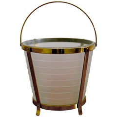 Art Deco Brass and Glass Ice Bucket