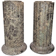 Pair of Fluted Hand Hewn Verde Antico Marble Pedestals