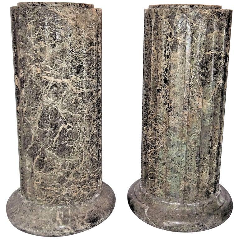 Pair of Fluted Hand Hewn Verde Antico Marble Pedestals