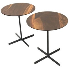Pair of American Black Walnut Cocktail Tables with Iron Bases