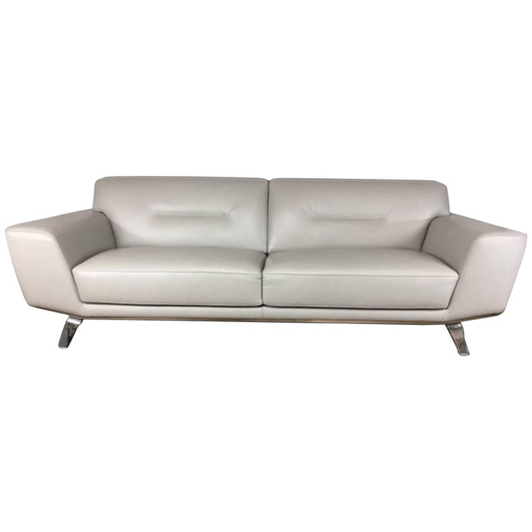 Roche Bobois Leather Sofa Sleek Chrome Legs