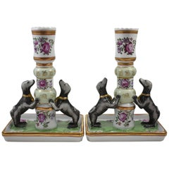 Pair of Handpainted Porcelain Rose Famille Candleholders with Dogs by Mottahedeh