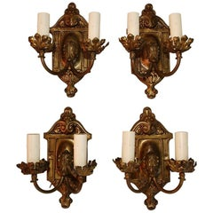 Beautiful Set of Four 1920s Brass Sconces