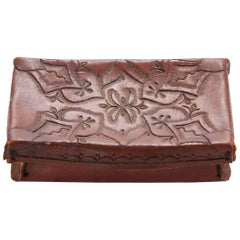 Early 20th Century Small Tooled Leather Box from Mexico