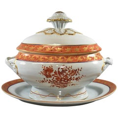 Italian Covered Soup Tureen and Underplate in Orange/Gold Chinese Bouquet Patter