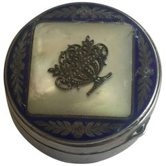 Austrian Silver Mother-of-Pearl Enameled Guilloche Snuff Pillbox