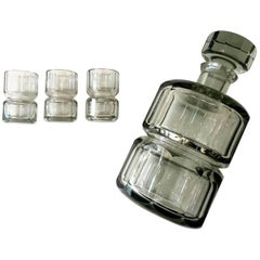 Czechoslovakia Crystal Decanter and Shot Glass Set
