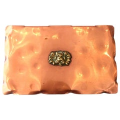 Hand-Hammered Copperware Box with Bronze Flower Motif by Drumgold