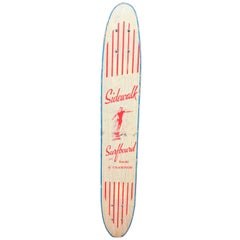 1960s Sidewalk Surfboard Malibu by Champion Longboard Skateboard Deck