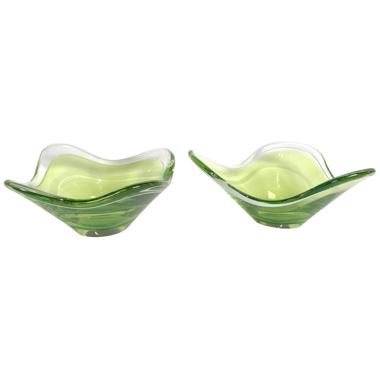 Two Matching Glass Bowls by Paul Kedelv for Flygsfors, 1955