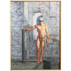 """""""Nude in Marble Hall,"""" Unusual, Early Watercolor with Male Nude by John Lear"""